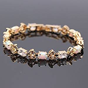 Women Jewelry Opal Bracelet Oval Gemstones And Diamond 14k Gold Plated Bangle White