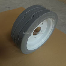 white rubber press on solid tire 200x8 with split steel rim