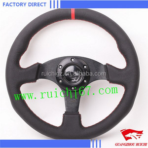 330mm ALUMINIUM LEATHER RACING STEERING WHEEL COMPATIBLE WITH OMP STEERING WHEEL