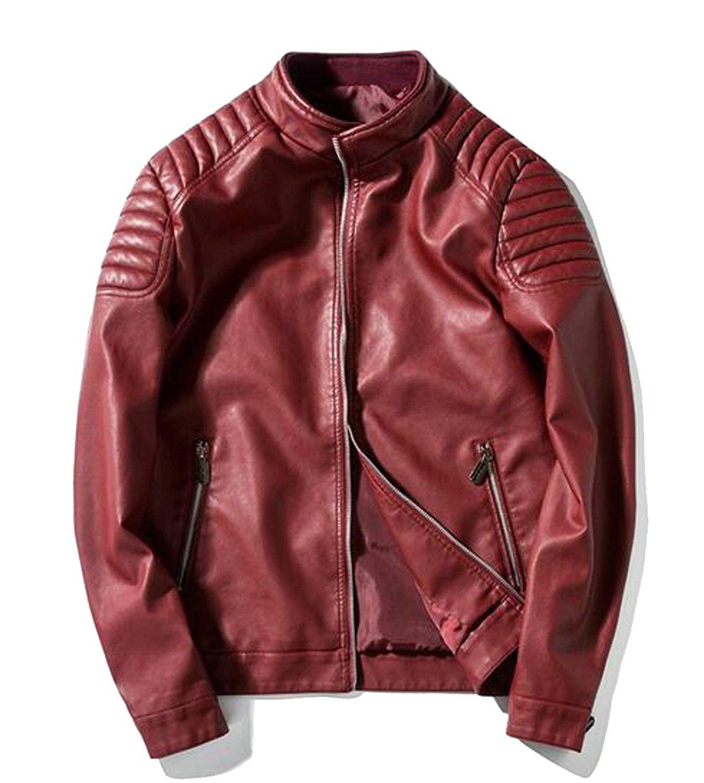 Jaycargogo Men's Classic Stand Up Collar Faux Leather Jacket Slim Fit Bomber Jacket