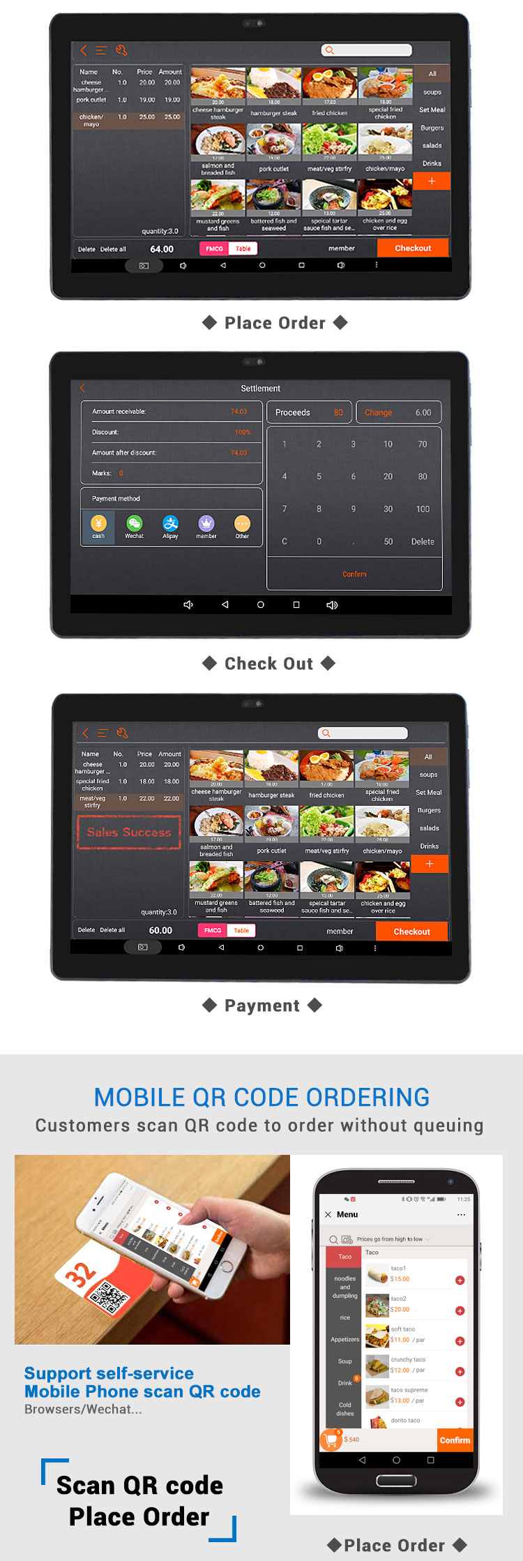 All in one touch screen handheld mobile pos terminal ZK-S6