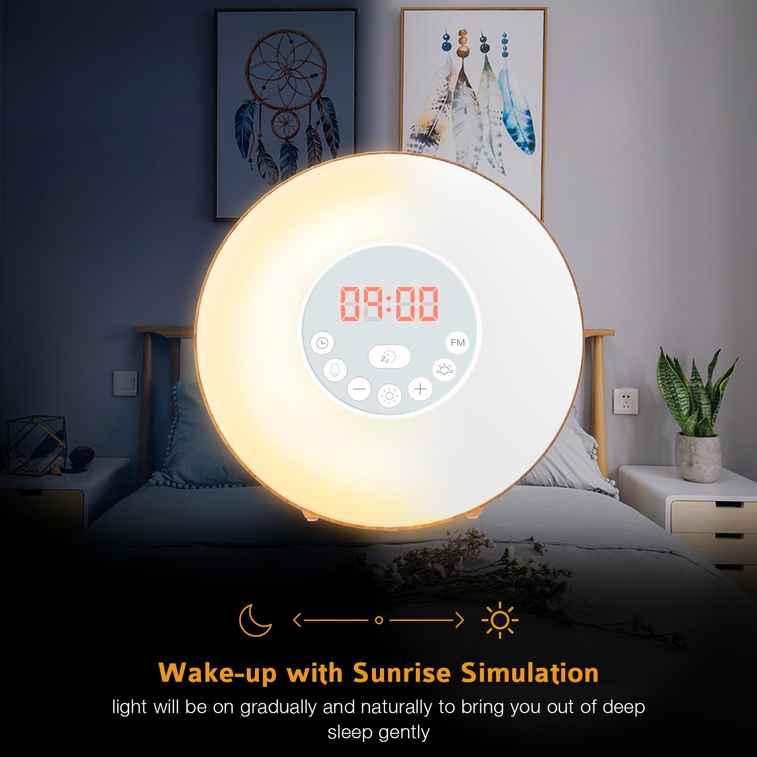 2018 Upgraded FM Radio Light with Sunrise Simulation Wooden Wake Up Light Alarm Clock With 6 Natural Sounds