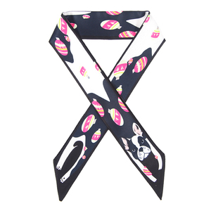 Cheapest stocked cute dog printed silk twill girls scarf
