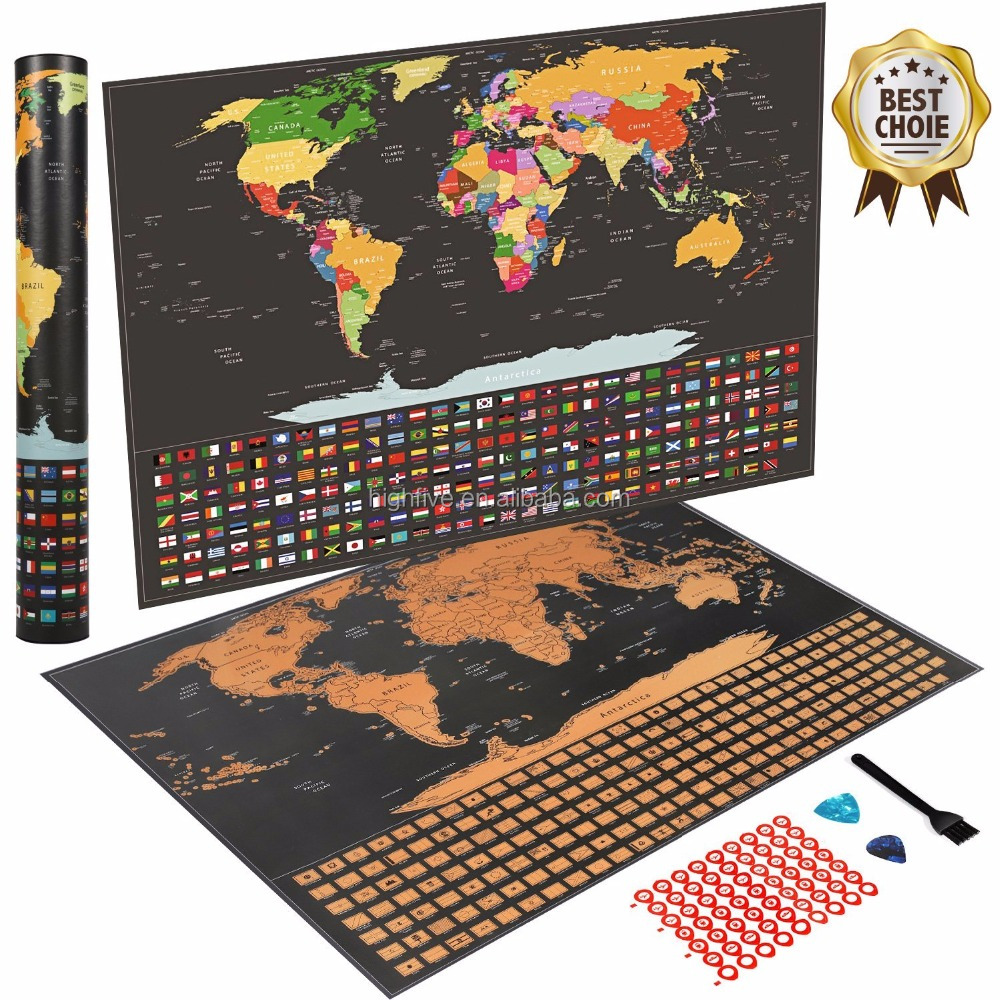 Scratch Off World Map Poster With Us States And Country Flags Track