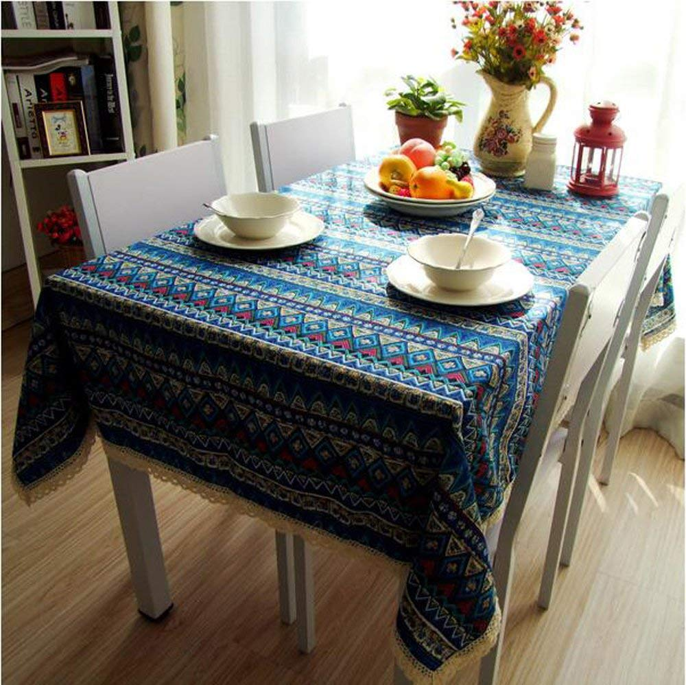 China Palaeowind Mediterranean, Cotton And Linen Table Cloth, Dust Cloth Bohemia Microwave, Bedside Cabinet Cover Fabric, Rectangular Tablecloths,B-140140cm