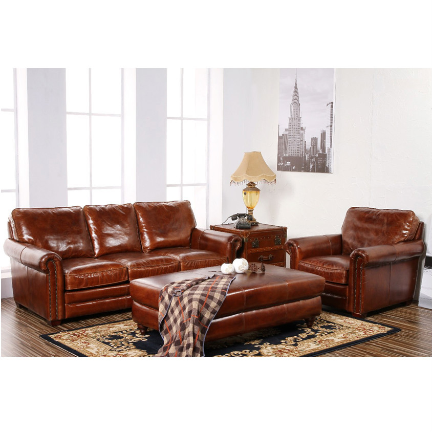Retro Vintage Leather Antique Chesterfield Sofa