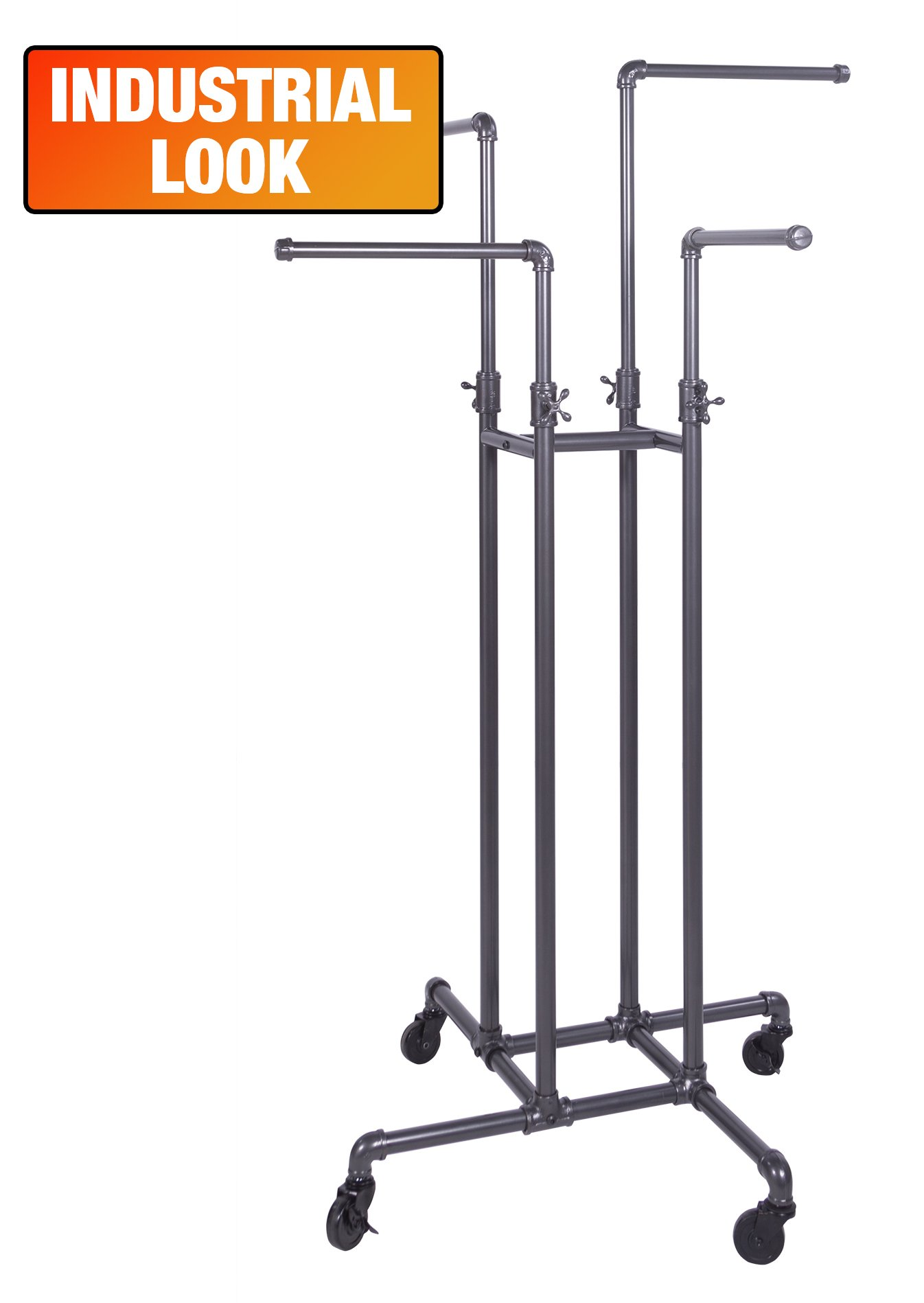 Clothing Rack Econoco - Heavy Duty Pipeline Adjustable, 4 Way Rack, Plumbing Pipe Clothes Rack, Anthracite Grey