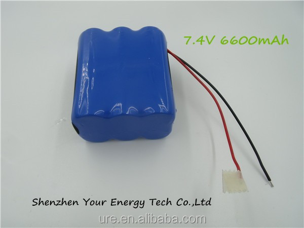 High standard Factory export Li-ion18650 Rechargeable Battery Pack 7.4v 6600mAh