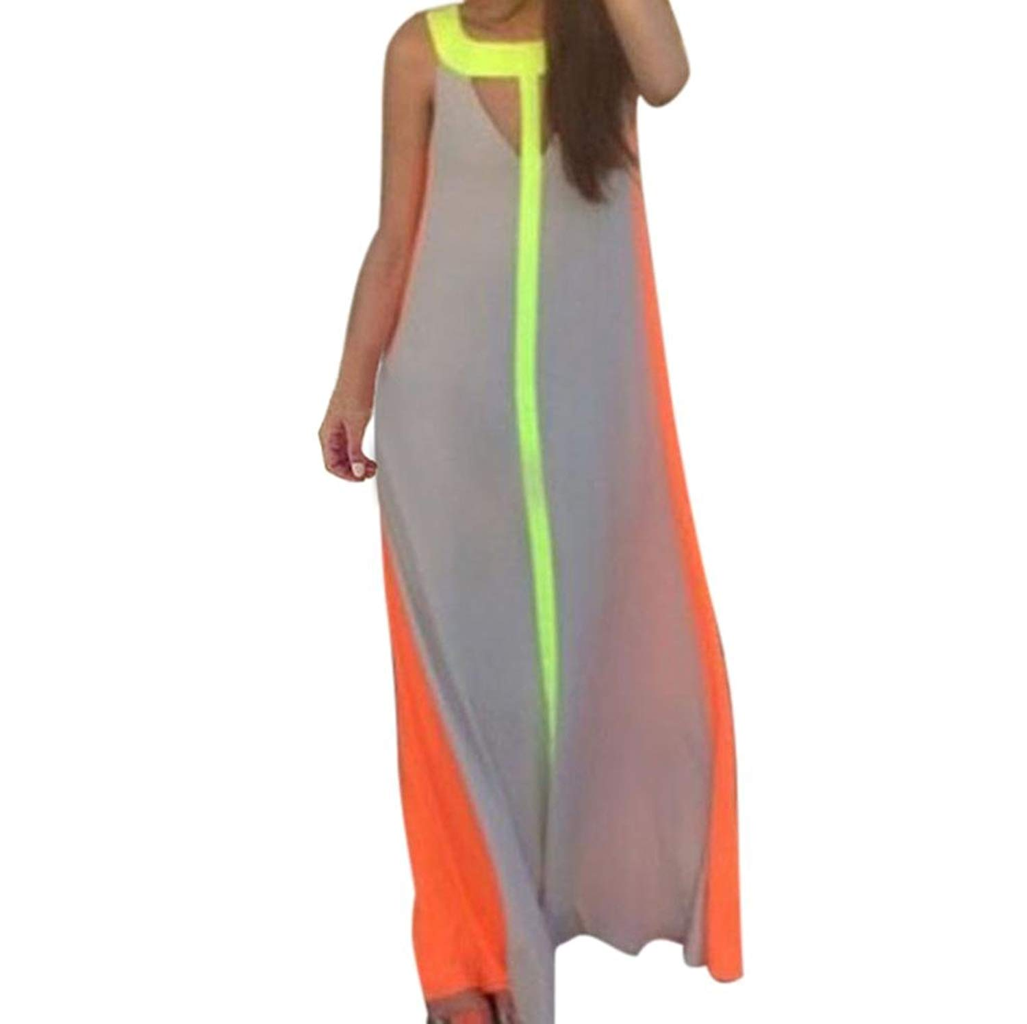 Long Dress,Women Maxi Sleeveless Multi-Color Summer Beach Stitching Dress