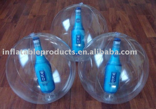 Inflatable PVC Transparent Beach Ball With Bottle WKD Inside Water Ball Promotion