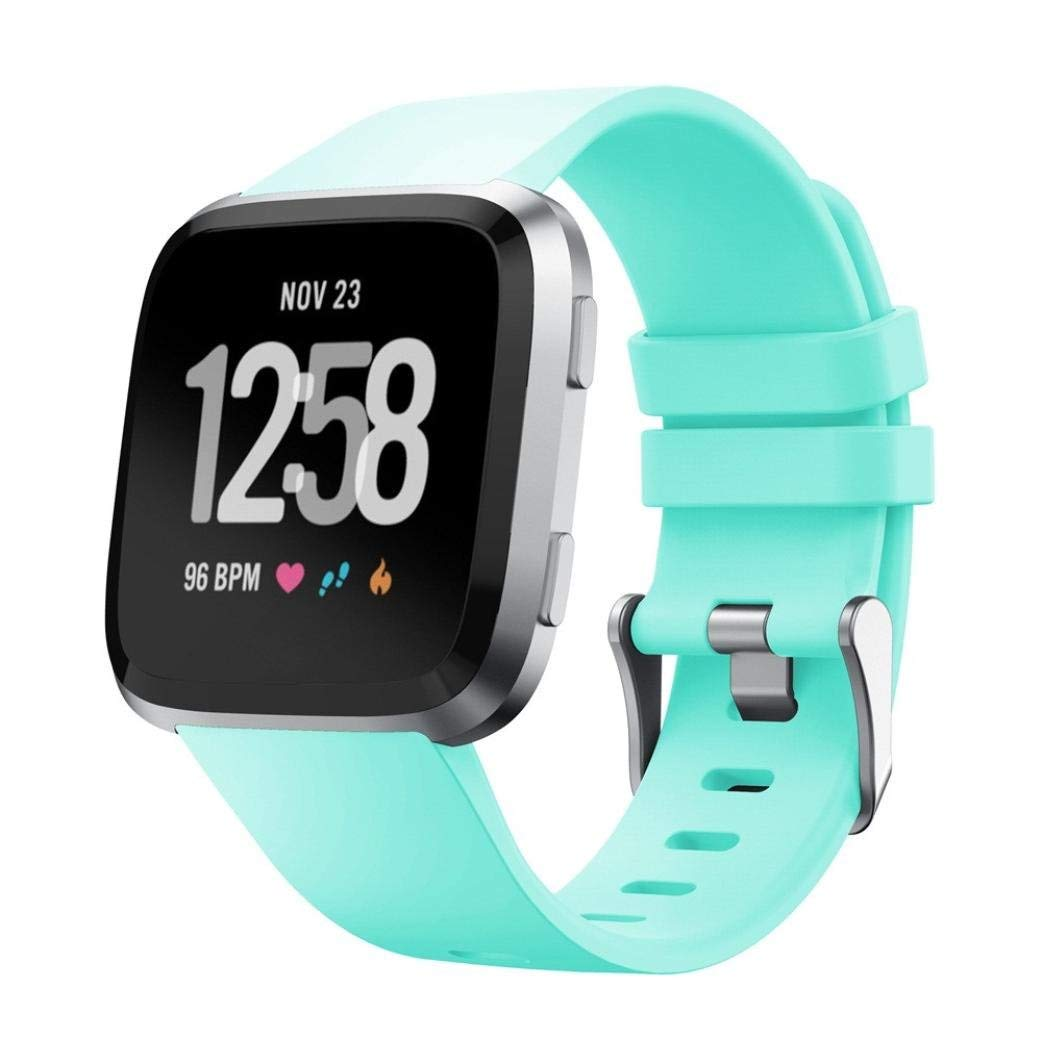 LtrottedJ Soft Silicone Replacement Sport Classic Band Strap For Fitbit Versa Smartwatch (Mint Green)