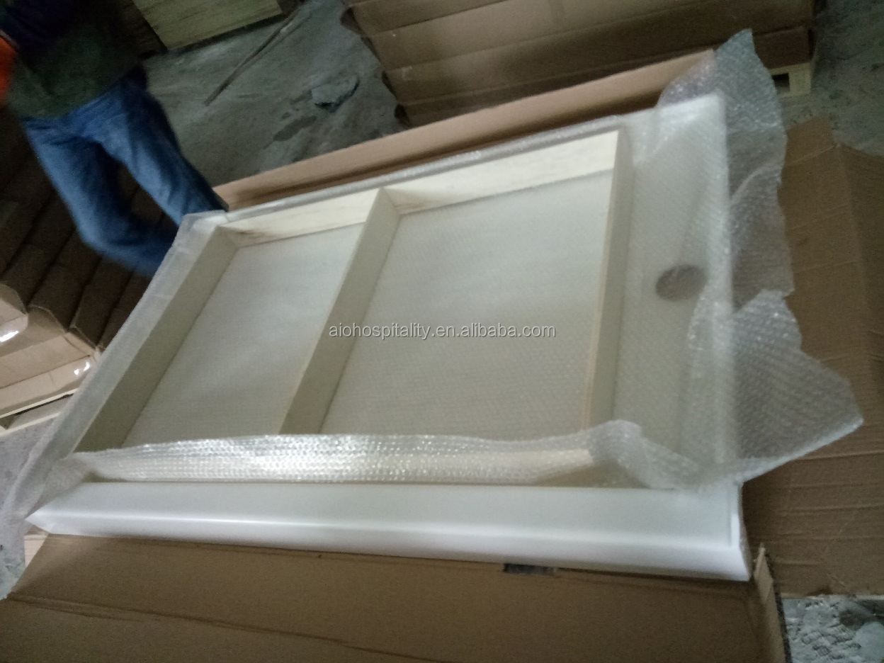 "60"" * 32"" * 3"" Center Drain Lightly Textured Non-Slip Floor Cultured Marble Shower Pan Rectangle Shower Base Shower Tray"