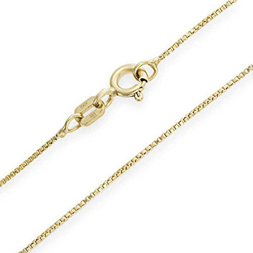 Bling Jewellry Very Thin 14k Italian Gold Box Chain Necklace 10 Gauge For Women S