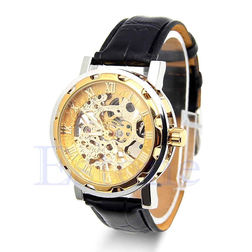 Мода черный кожаный ремешок из нержавеющей стали скелет механические часы для человека золото механические наручные часы бесплатная доставка