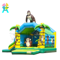 Cheap commercial used monkey Jungle inflatable jumping castle/gorilla bounce house moonwalk for fun