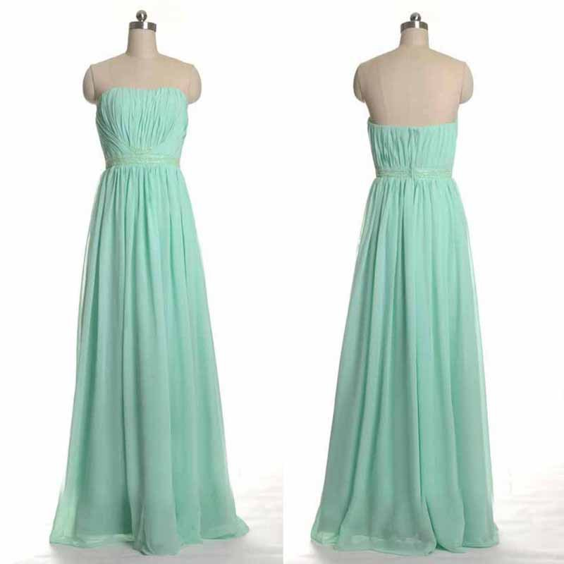 Hot Long Mint Green Bridesmaid Dresses 2017 Scoop A Line Chiffon Gown Pleated Floor Length In Price On M Alibaba