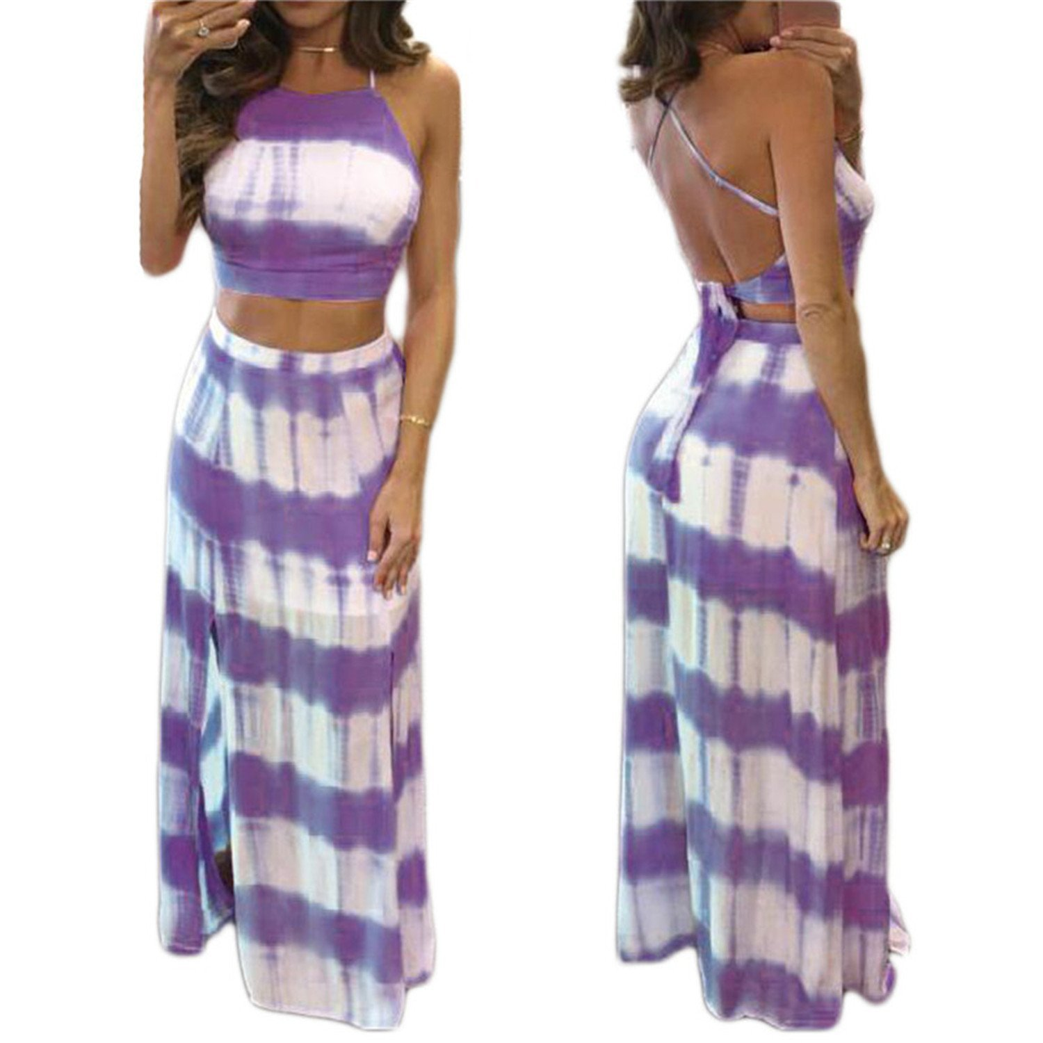 4c3f618d33640 Get Quotations · Chiffoned Sexy Crop Tops Long Skirt Women 2 Piece Set  Summer Gradient Color Stripe Print Halter