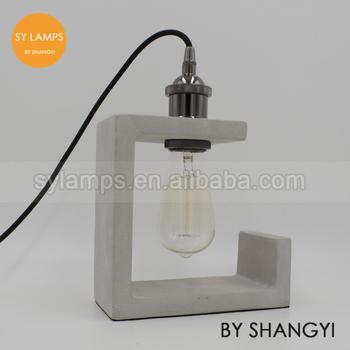 concrete table lamp. Industrial Cement Concrete Table Lamp