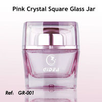 30g 50g Pink Square Cosmetic Glass Jar With Cap