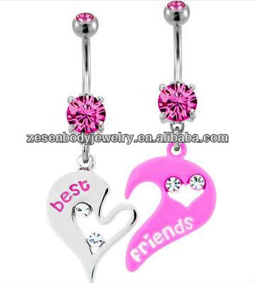 Abstract Hearts Best Friends BFF 2 Piece Navel Bar Belly Ring Piercing body jewelry
