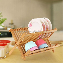Durable Bamboo Dish Rack Drying Drainer Stand Storage Holder for Dish / Plate / Bowl / Cup