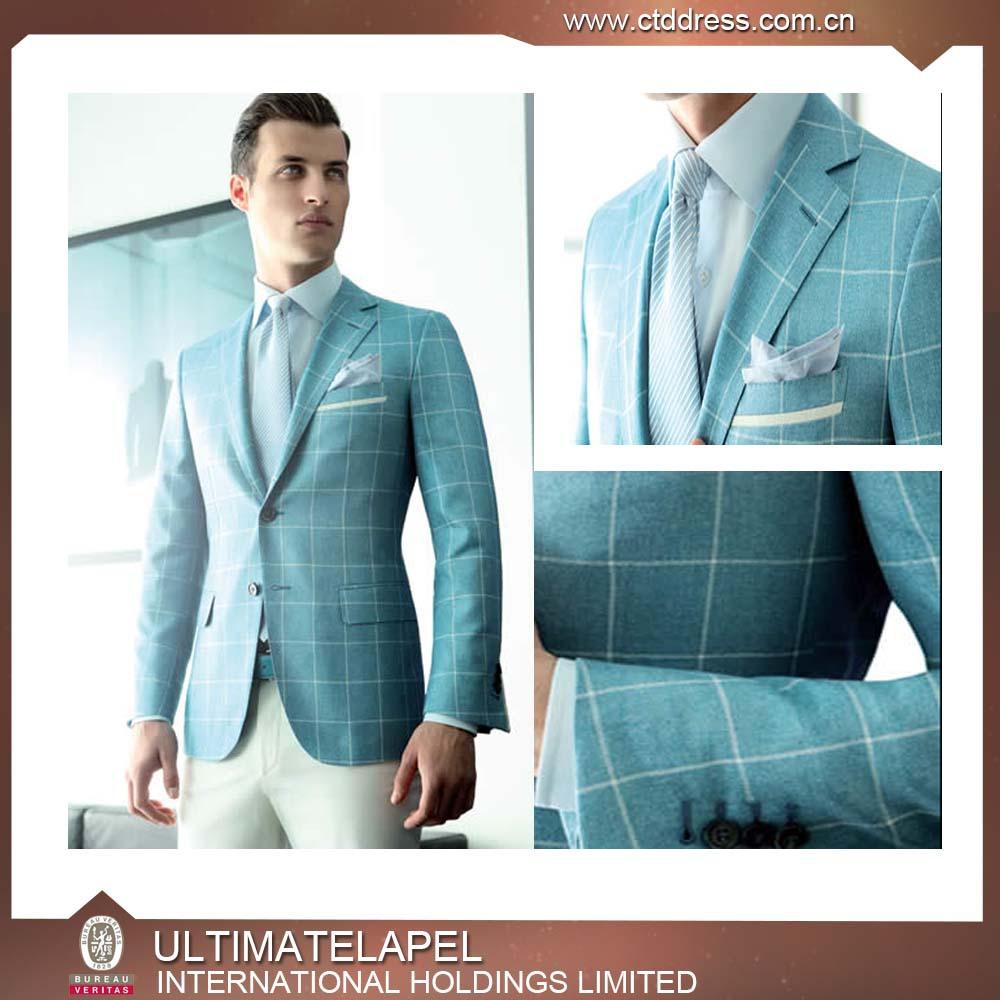 dff602cd3 light blue check formal wear custom tailored made men's 3-piece business  suit