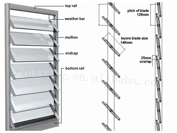 Aluminum Window Details : Aluminum dajustable glass louver shutter window with