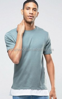 2017 china supplier men longline t shirt with Casual Fashion Contrast Combed Cotton Hem Extender