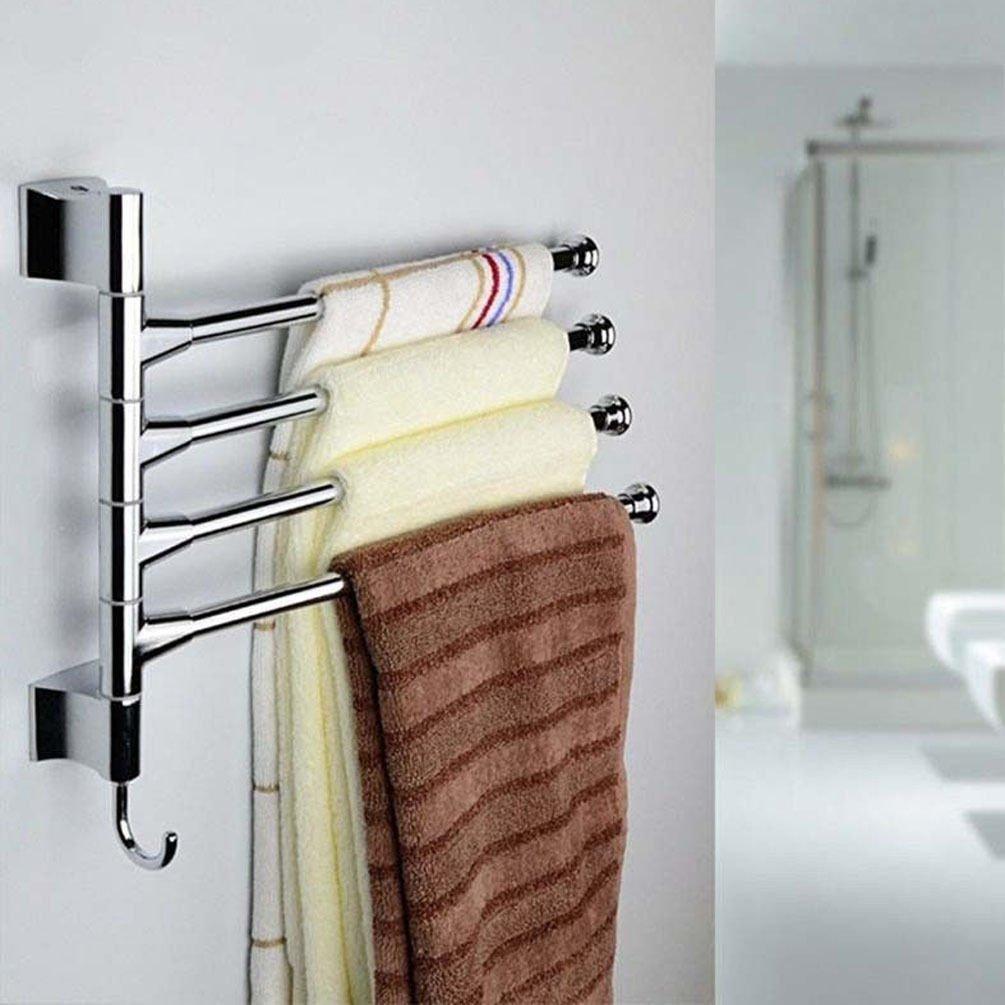 Towel Bars Towel Holder 4-Swivel Bars Stainless Bath Rack Rail Wall-Mounted Hanger Bathroom Silver 26.5cm x 31.5cm