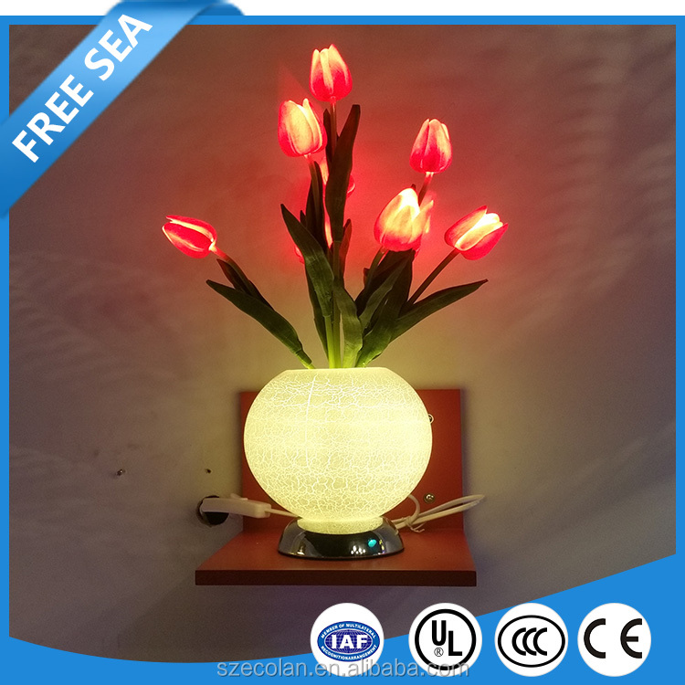 Warm White Baby Safety Led Tulip Flower Vase Lawn Path Light