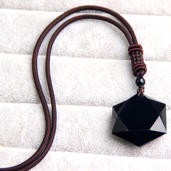 Natural Black Obsidian Pendant Women Men Talismans black Obsidian pendant