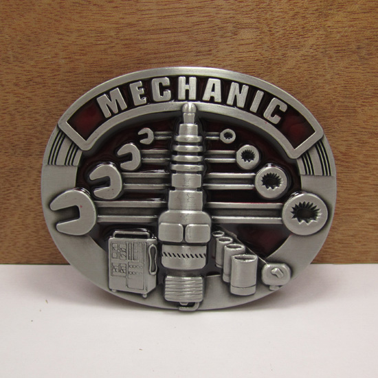 Zinc alloy mechanic tool cowboy belt <strong>buckle</strong> with pewter finish manufacturers large series collection