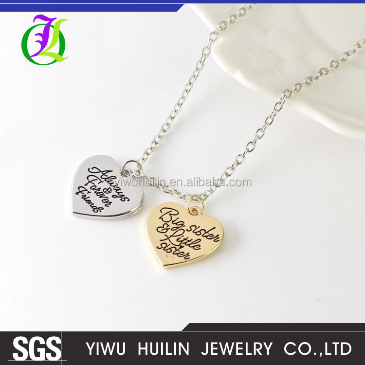 JTBC0049 Yiwu Huilin Jewelry Good friend BIG LITTLE SISTER good sister love heart ornaments two pendants necklace for sister