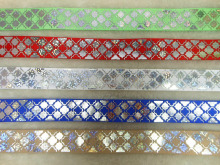 Diamond and quincunx design colorful Foil printing grosgrain ribbon
