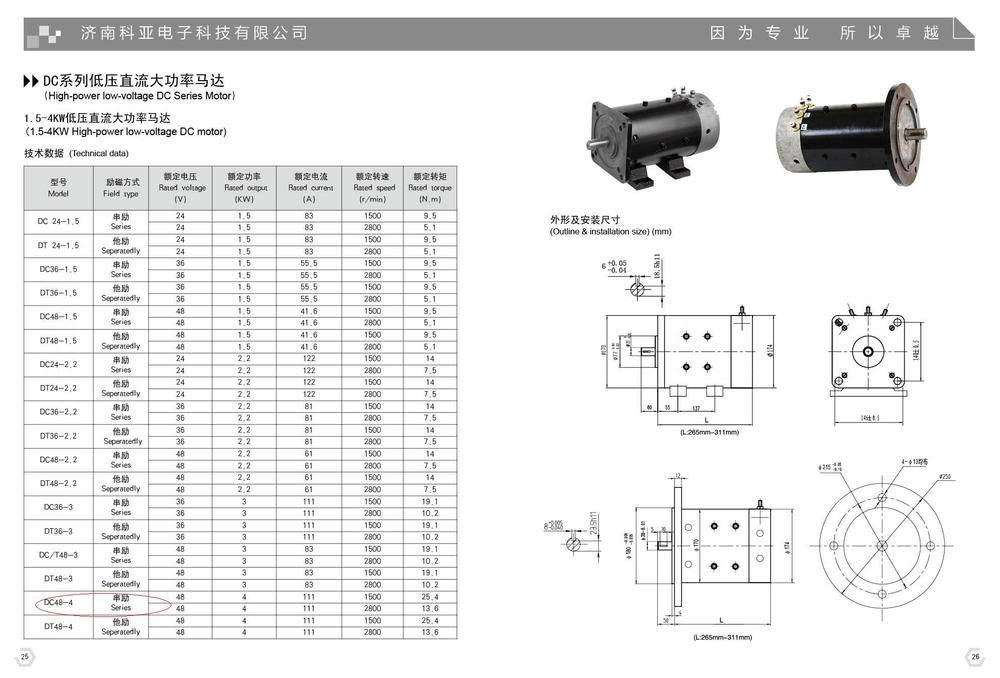 Jinan10 Year Manufacturer For Dc Motor 24v 2 2kw 2 2kw