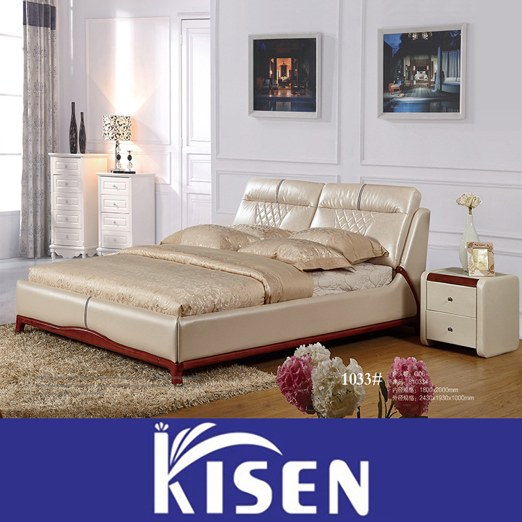 Factory Directly Sale luxury Leather Chesterfeild double Bed for bedroom 1033