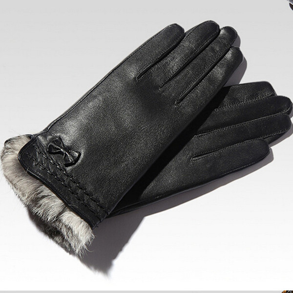 rabbit fur lined high fashion leather glove from leather glove manufacture