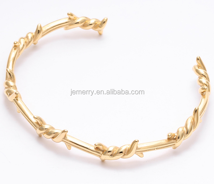 Fashion Brand Barbed Wire Gold Plated Cuff Open Bangle 316L Stainless Steel Creative Bracelet for Men Women Jewelry Bracelet