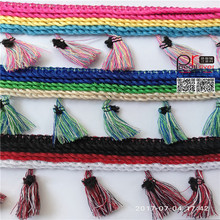 Guangzhou supplier long tassel for clothing cotton tassel pom pom coloful fringe
