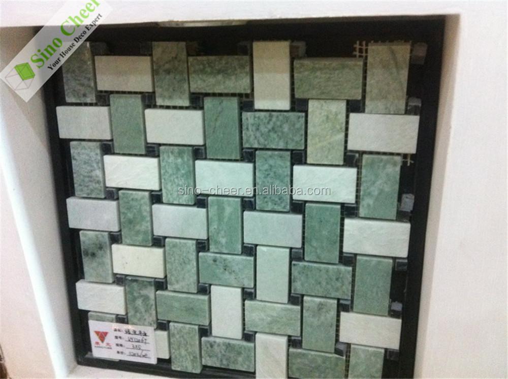 Groene Mozaiek Tegels : Groene xiuyan jade gemengde jade witte zeshoek marmeren gestapeld