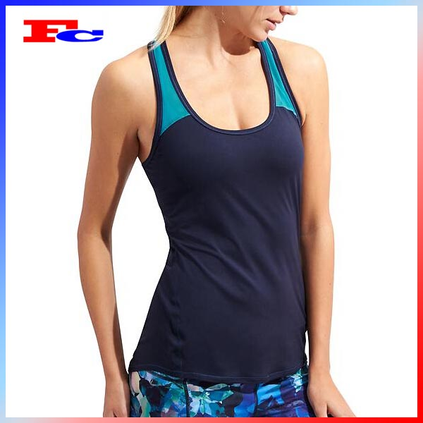 OEM Factory Design Ladies Polyester Color Block Tank Top Women running singlet