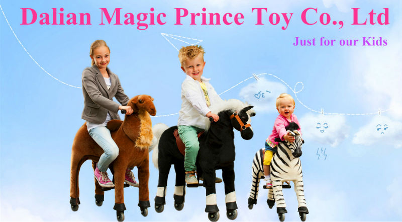 (EN71&ASTM&CE,Pass!)~ Dalian Magicorince Durable Red Human Power plush play ground toy horse on wheels for sale