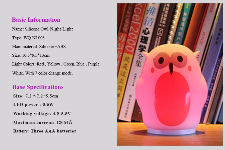 Owl 7 Colors Changing Night Light with USB Touch LED Lamps