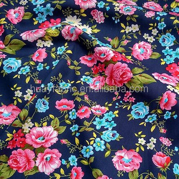 High quality blue flowers 100% cotton fabric wholesale poplin fabric floral printed cotton fabric HY001J