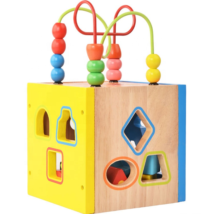 Multifunctional Geometric Shape sorter Cube wooden beads maze toy kids activity cube maze toy educational toys for kids