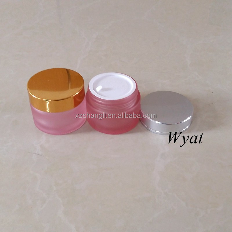 Wholesale Empty Round 50ml Frost Pink Glass Cream Jar with Lids