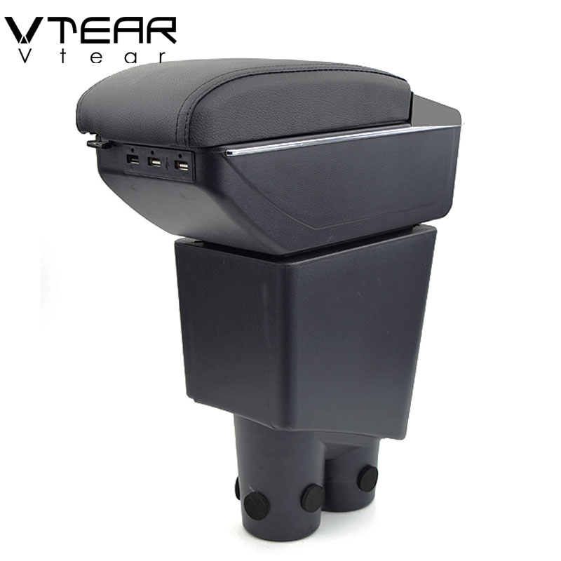 Vtear For Proton Exora armrest USB Charging heighten Double layer storage  box central Store content arm rest Accessories 15-18