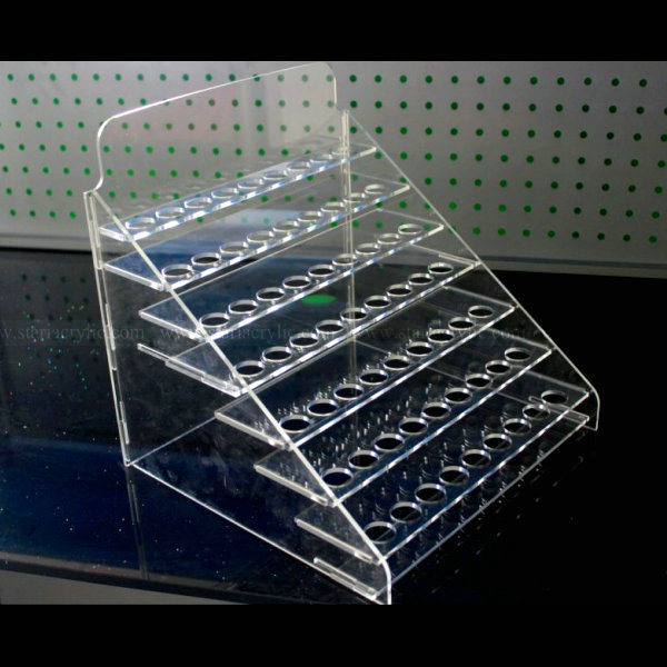 7-Tiers Premium Clear Acrylic Pen E-Cigarette Display Holder Stand, Clear Makeup Brush and Nail Brush Rack