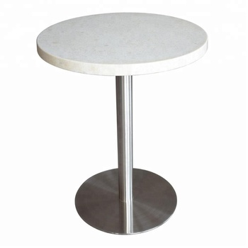 Latest Style White Melamine Dining Table With Metal Base Stainless Steel Modern Wheels