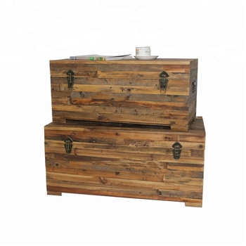 Rustic Decorative Vintage Large Wooden Storage Trunk Treasure Chest